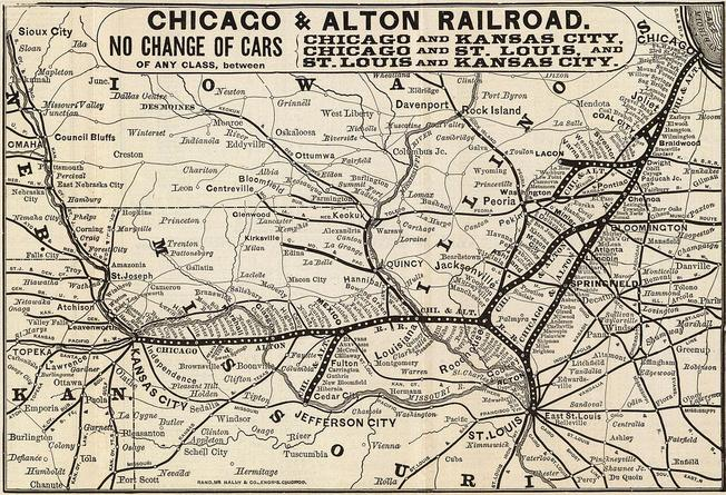 Chicago and Alton Railroad map, circa 1885.