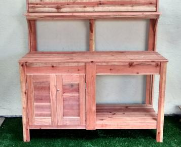 Redwood potting bench, Potting bench, Garden bench