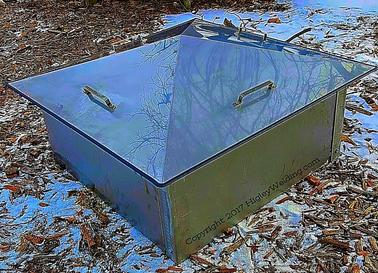 "alt=""sloped stainless steel fire pit cover"""