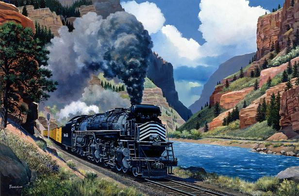Denver and Rio Grande Western No. 3707 along the Colorado River in Glenwood Canyon, Colorado. Oil painting by Howard Fogg courtesy of Richard Fogg.