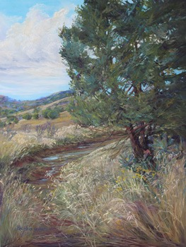 The Calm After the Storm, Davis Mountains of Far West Texas landscape painting by Lindy Cook Severns, Fort Davis TX
