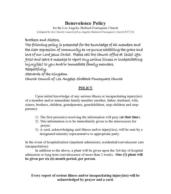 Benevolence Policy