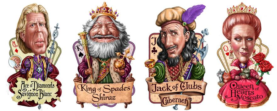 caricature portraits of face card characters for wine label designs