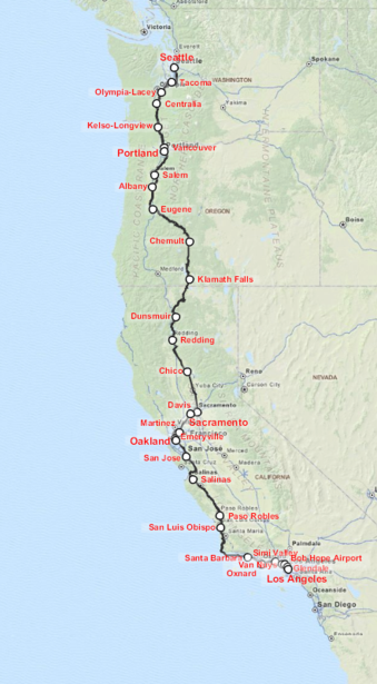 Route Map of Amtrak's Coast Starlight.