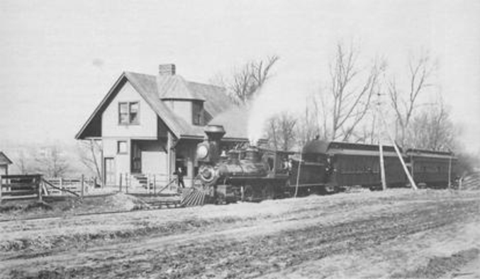 Cincinnati, Lebanon and Northern Railway narrow gauge passenger train at Norwood Park (Smith Road), 1887, pulled by Brooks Mogul No. 6.
