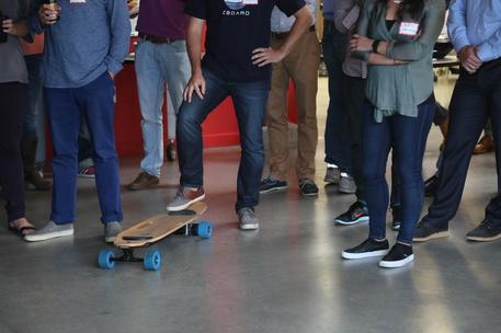 electric skateboard demo on startup accelerator pitch day