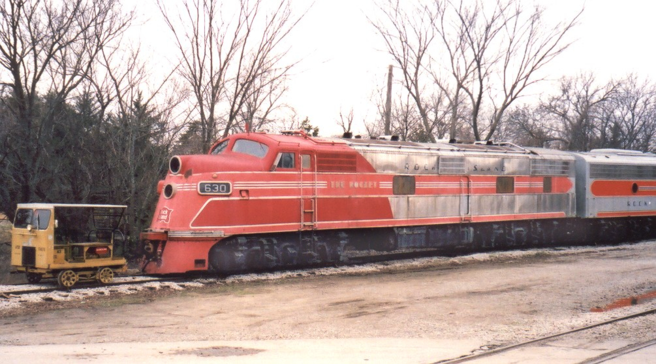 Rock Island E6A No. 630, formerly operated by Midland Railway, at Baldwin City, Kansas on November 28, 2004.