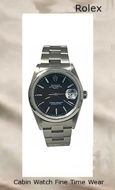Product specifications Watch Information Brand, Seller, or Collection Name Rolex Part Number AH4D-W64028DATE-DA-CPO Dial window material type Synthetic sapphire Display Type Analog Clasp Fold-over-clasp Case material Stainless steel Case diameter 34 millimeters Band Material Stainless steel Dial color Black Bezel material Stainless steel Calendar Date Movement Swiss automatic Water resistant depth 100 Meters