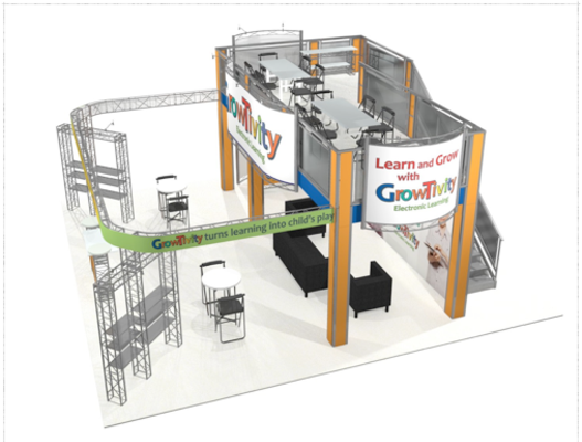 Growtivity 30 x 30 double deck trade show exhibit top view.