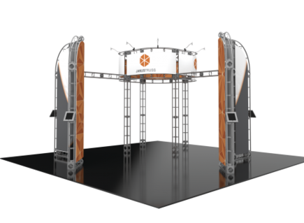 Janus 20x20 Orbital Express trade show booth exhibit front view.