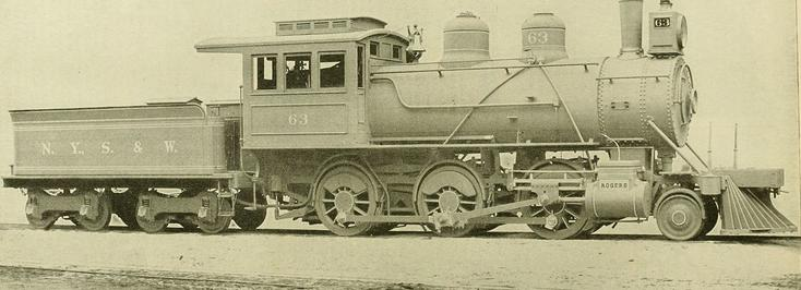 NYS&W 2-6-0 Mogul locomotive built by Rogers, circa 1893.