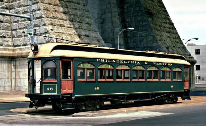 An interurban tram from the Philadelphia & Western Railroad, which survived long in the interurban business.