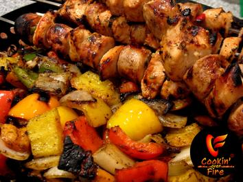 Cajun Teriyaki Grilled Chicken and Sausage Kabobs, spiced up with Chef of the Future Brand Seasonings