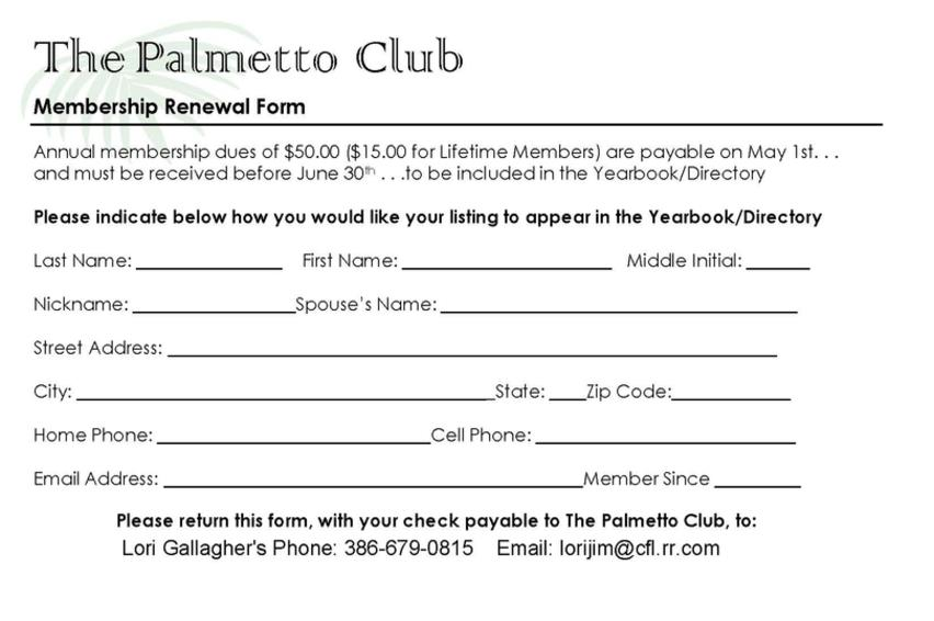 Membership Renewal Form