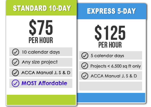 Manual J, S & D HVAC Design Pricing - 5-Day Express and 10-Day Standard