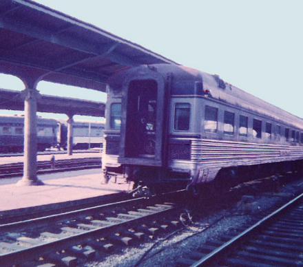The observation car bringing up the rear of the westbound Ambassador, departing Union Station (Washington, D.C.) in 1961.