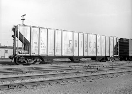 A St. Louis - San Francisco covered hopper car at Dallas, Texas, in April of 1968.