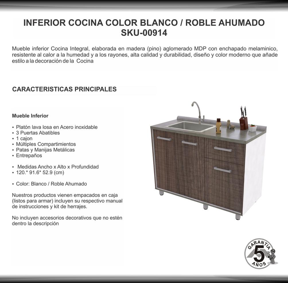 Mueble inferiro cocina con laba losa en acero sku 00914b for Manual para muebles de cocina