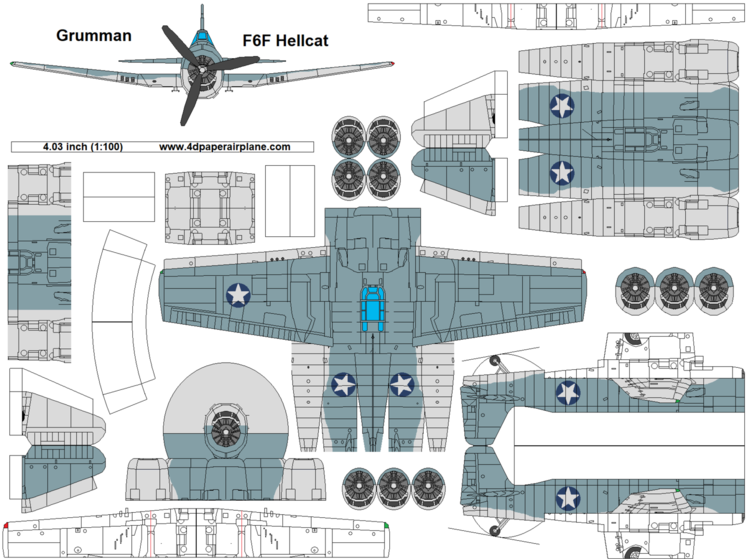 4D model template of Grumman F6F Hellcat