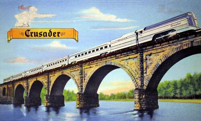 A postcard depiction of the Reading's streamlined Crusader passenger train.