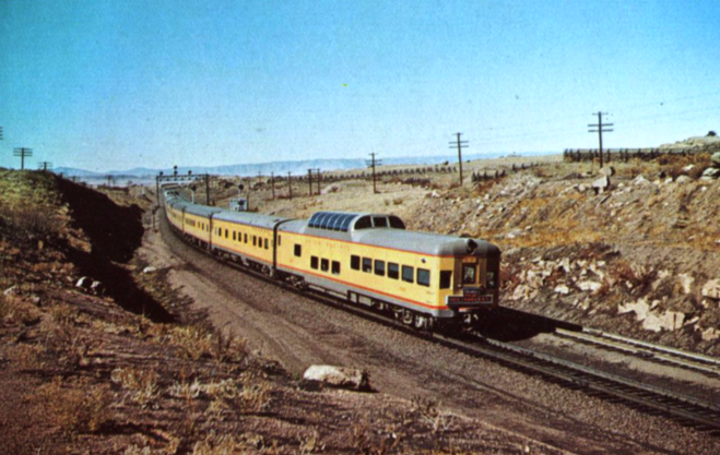 An Astra-Dome lounge-observation car brings up the rear of the City of Los Angeles in the 1950s.