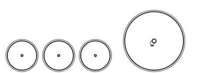 Schematic drawing of the 6-2-0 wheel arrangement depicting an unpowered three-axle leading truck, followed by a single powered driving axle. Front of locomotive is on the left.