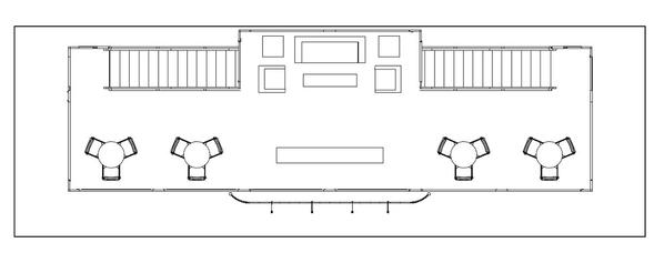 Floor plan for a 20 x 60 double deck trade show booth.