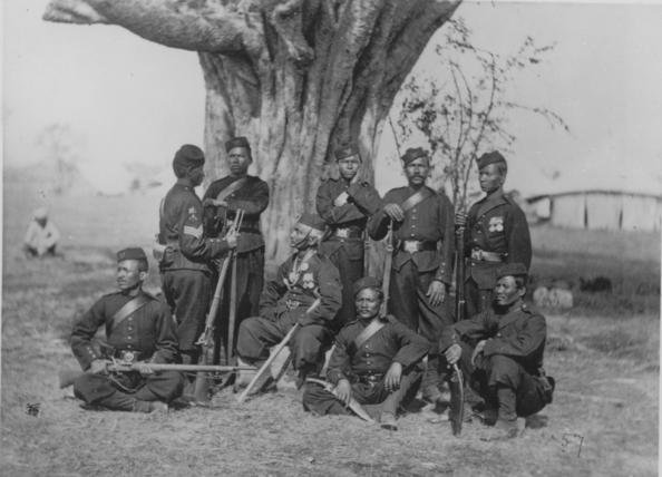 Gurkhas circa 1890 showing their kukri Gurkha knives