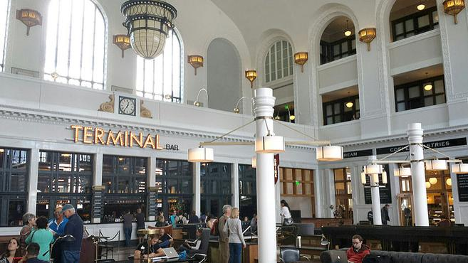 An interior view of the Great Hall at Denver Union Station.
