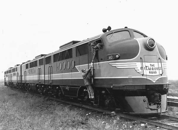 A set of modern EMD FT Diesel locomotives, circa 1945.