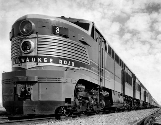 A beautiful Fairbanks-Morse Erie-Built diesel locomotive leading the Olympian Hiawatha in 1947.
