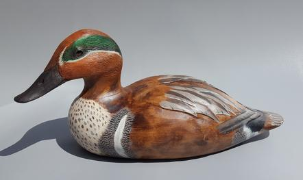 Hand Carved Green Wing Teal decoy