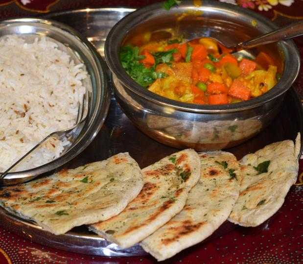 Indian Village Eatery - Sabji with rice and naan