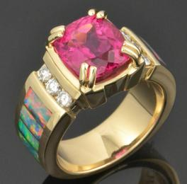 Australian opal ring with stunning rubellite tourmaline set in 14k gold by Hileman Opal Jewelry.