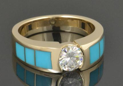 Moissanite and turquoise engagement ring in 14k yellow gold by Hileman Silver Jewelry.