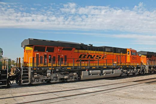 A rear view of brand new BNSF Railway ES44C4 No. 8270.