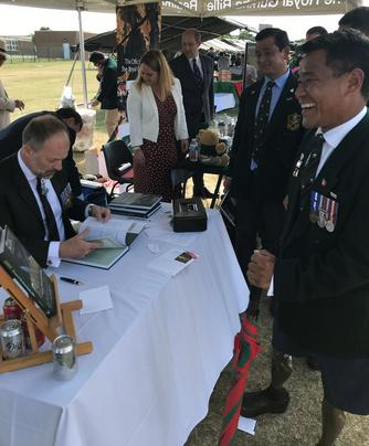 Corporal Haribahadur Budha Magar and Craig Lawrence at the Regimental launch of the new Gurkha RGR25 book