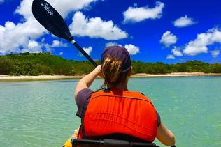 two women in one of the kayak rentals on St. Croix