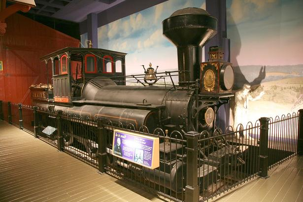 The locomotive Reuben Wells of 1868 on display at the The Children's Museum of Indianapolis.