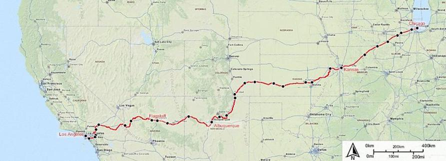 Southwest Chief route map.