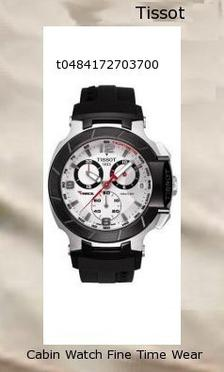 Watch Information Brand, Seller, or Collection Name Tissot Model number T0484172703700 Part Number T0484172703700 Model Year 2012 Item Shape Round Dial window material type Anti reflective sapphire Display Type Analog Clasp fold over clasp with double push button safety Metal stamp None Case material Stainless Steel Case diameter 45 millimeters Case Thickness 12 millimeters Band Material Rubber Band length Mens-Standard Band width 20 millimeters Band Color Black Dial color White Bezel material Stainless Steel Bezel function Stationary Calendar Date Special features Chronograph Item weight 4.64 Ounces Movement Swiss quartz Water resistant depth 330 Feet