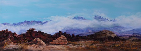 "An Untold Story, 7"" x 14"" pastel landscape of adobe ruins and the Chisos Mountains. Big Bend Artist Lindy Cook Severns, Fort Davis, TX"