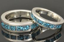 Kingman spiderweb turquoise wedding ring set in sterling silver