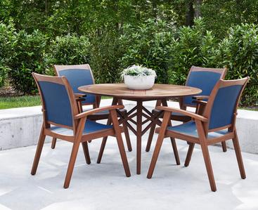"Topaz 48"" dining set with blue sling"