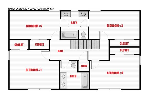 North Jersey Pro Builders | Ranch add-a-level floor plan 33