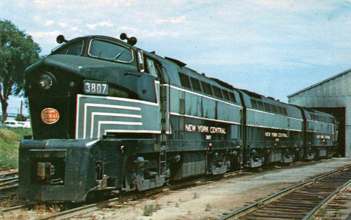"New York Central 3807 with ""B"" unit 3703 and ""A"" unit 3806 at back, 1958. Photo by R.R. Wallin."
