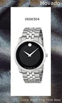 Watch Information Brand, Seller, or Collection Name Movado Model number 606504 Part Number 0606504 Model Year 2011 Item Shape Round Dial window material type Synthetic sapphire Display Type Analog Clasp Deployment Buckle Case material Stainless steel Case diameter 40 millimeters Case Thickness 7.7 millimeters Band Material Stainless steel Band length Men's Standard Band width 21.9 millimeters Band Color Silver Dial color Black Bezel material Stainless steel Bezel function Stationary Special features Water-Resistant Item weight 1.1 Pounds Movement Swiss quartz Water resistant depth 99 Feet