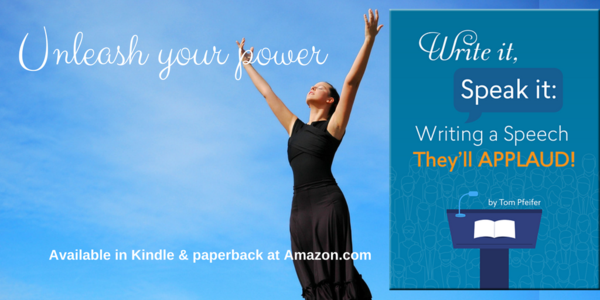 Woman reaching for the heavens against a blue sky. Unleash your power. Write It, Speak It: Writing a Speech They'll APPLAUD! Available in Kindle & paperback at Amazon.com