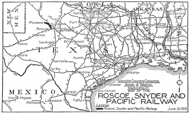 Map of the Roscoe, Snyder & Pacific Railway in 1916.