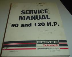 A used service manual for a 90 and 120 hp Force outboard motor